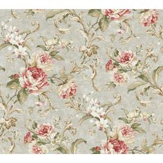 York Wallcoverings Luminous Lavender Floral Swirl Wallpaper Color: Pale Silvery Green/Pink to Red/Cream Toile Wallpaper, Flowery Wallpaper, Shabby Chic Wallpaper, Victorian Wallpaper, Botanical Wallpaper, Wallpaper Samples, Wallpaper Roll, Anaglypta Wallpaper, Vintage Flowers Wallpaper
