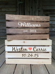 Rustic Wedding Crate Personalized Wedding by TheRusticOwlShop