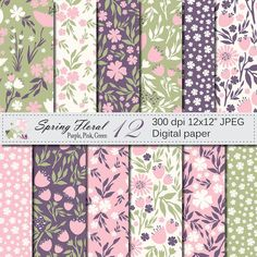 Seamless Spring Floral Digital Paper Hand Drawn by VRDigitalDesign