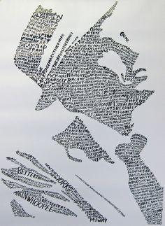 Frank Sinatra songs. Ink on paper.