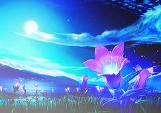 ✮ ANIME ART ✮ anime scenery. . .field of flowers. . .lake. . .mountains. . .night sky. . .moon. . .clouds. . .ethereal. . .fantasy world. . .beautiful. . .kawaii