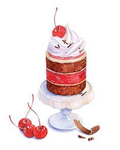 cherry dessert watercolor