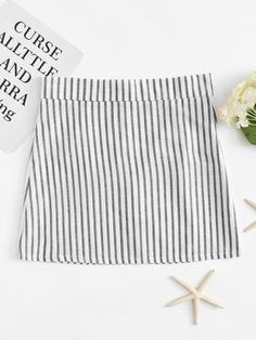 Zip Up Back Striped Skirt