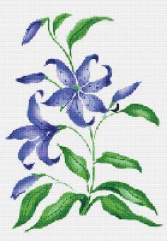 Blue Lily Counted Cross Stitch Pattern Chart
