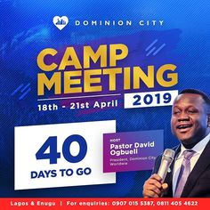 Camp meeting is 40 days to go. Tell it everywhere invite your friends family and everybody you meet. We look forward to having you. Church Graphic Design, Church Design, Brochure Design, Branding Design, Charity Branding, Flyer Design Inspiration, Event Poster Design, Event Flyer Templates, Event Flyers
