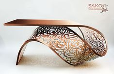 "https://flic.kr/p/S7jtkf | TORSION | front desk /table/ console ""sculpture"". A twisted metal sheet carved arabic calligraphy. plaited with aluminized powder in dark pink / bronze color. made to order sakotch@yahoo.com"