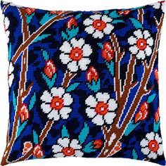 Do you want to have nice pillow on your sofa? I guess yes 🙂 This kit includes everything you need to have this easy, beautiful and fun project finished: – canvas Zweigart with printed pattern for p Simple Cross Stitch, Cross Stitch Borders, Cross Stitch Designs, Cross Stitching, Cross Stitch Patterns, Diy Embroidery Kit, Cross Stitch Embroidery, Cross Stitch Cushion, Crochet Cushion Cover