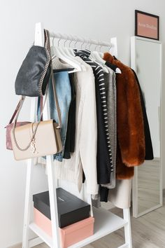 walk in closet - Ankleidezimmer - Acne Studios - Stella McCartney - Mini Falabella - Topshop - Depot - Kleiderstange - cloth rack - Saint Laurent - YSL -Closed Jeans