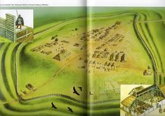 Artist Reconstruction of South Cadbury Hill Fort - Illustrated by Peter Dennis (Source- British Forts in the Age of Arthur)