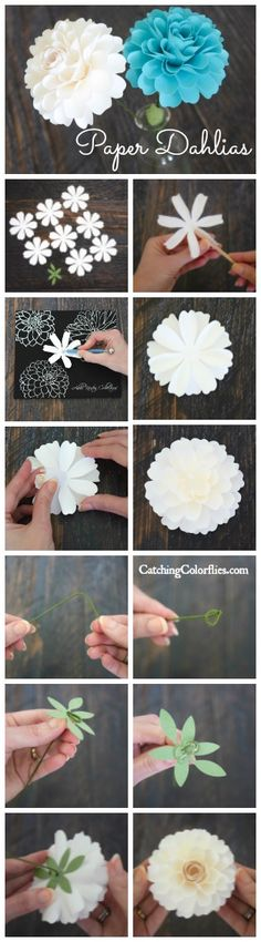 Paper dahlia flowers. DIY paper flowers. How to stem a paper flower. Paper bouquet. Flower Templates.