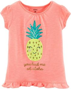 Toddler Girl Sequin Pineapple Tulip Back Slub Tee from Carters.com. Shop clothing & accessories from a trusted name in kids, toddlers, and baby clothes. Toddler Girl Shorts, Toddler Girl Style, Toddler Outfits, Kids Outfits, Cute Tops For Girls, Baby Girl Tops, Baby Girl Names, Tk Maxx, Kids Prints