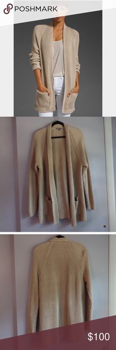 Vince tucked heavy knit cardigan. Size Large. Reposhing. Excellent condition. Heavy knit gorgeous Vince cardigan. Light tan. Pockets. Perfect staple for your Fall 🍁🍂closet. Vince Sweaters Cardigans