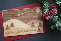 Wood Christmas Cards - Twas the Night Before Christmas - Winter Scene - Santa Claus