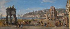 Naples, view of the Riviera di Chiaia.  By Gaspar van Wittel, called Vanvitelli