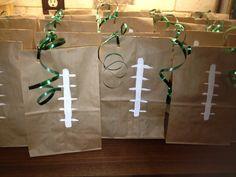 Football party favor bags for Football Party Favors, Football Crafts, Football Themes, Football Birthday, Sports Birthday, Football Gift, Football Stuff, Football Baby, Football Season