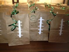 Football party favor bags. Super easy and cute!