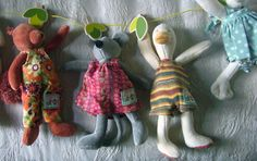 "This site has neat cloth toys from France, plus this 24"" Moulin Roty Bird Clothes-line $18 to attach them to..."