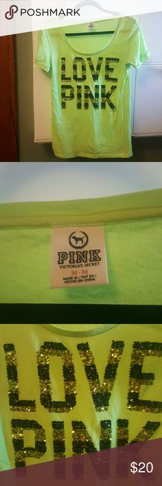 Love Pink Victoria Secrets sequin tshirt bling tee Pink Victoria Secret t-shirt super soft normal wear for this style good used condition. Black and green sequin lettering. Rolled style short sleeves. -m PINK Victoria's Secret Tops Tees - Short Sleeve