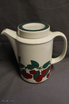 Arabia, <kirsikka- Cerry Marimekko, Teapot, Finland, Pots, Nostalgia, Porcelain, Pottery, Memories, Dishes