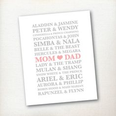 INSTANT DOWNLOAD / Nursery, Girl's Room / Disney Couples, Mom Dad / 8x10 Pink, Grey (Gray) on Etsy, $2.95