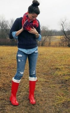 Cute outfit but I'd like classic yellow rain boots or black ones.