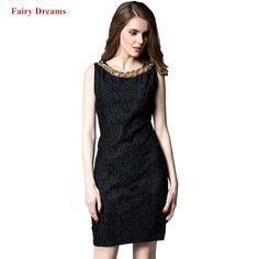 494d8e46df319 Fashion Pencil Dress Women Spring Summer Autumn 2018 Black Blue Red Lace  Sundress Female Big Size Clothes Ladies Office Dresse