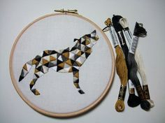 """Wolf Embroidery Pattern for Geometric Animal Hoop Art """"Geo Wolf"""" Instant PDF…"""