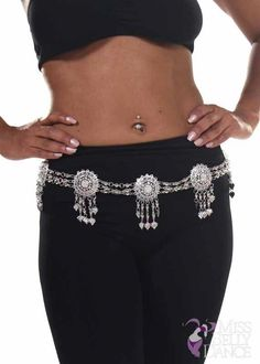 MADE IN ITALY Antique Silver Belly Dancing European Fashion Chain Belt  S//M//L