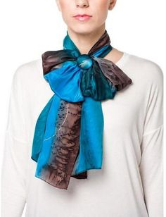 Tricia James Navajo Silk Scarf With Matching Clip
