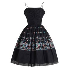 Vintage 1950s Black Embroidered Organza Party Dress