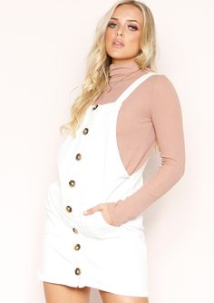 15c7cf28542 Louisiana Cream Button Front Dungaree Dress