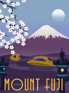 Steve Thomas Art & Illustration: Future Japan illustrated travel poster, Mt. Fuji