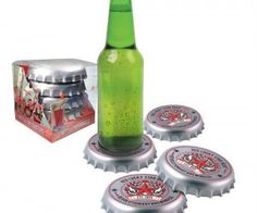 Bottle Cap Coasters ($12.82) Now the caps can go over and under the bottle!