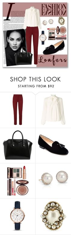 """Loafers"" by fashion-film-fun ❤ liked on Polyvore featuring Joseph, Somerset by Alice Temperley, Givenchy, Jon Josef, Charlotte Tilbury, Blue Nile, FOSSIL and Gucci"