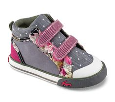 See Kai Run – Kya in Gray. Hot pink straps and multi-print canvas gives this girls' high top sneaker personality while still neutral enough to go with her wardrobe. Also available for Big Kids.