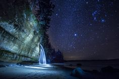 Let's sleep under the stars tonight. On the thin, tattered line where stone and sea meet, and shatter each other.Mystic Beach, Juan de Fuca Trail, West Coast of Vancouver Island BC Canada Best Places To Travel, Places To Visit, Stars Tonight, Canadian Travel, Sky Full Of Stars, Sleeping Under The Stars, Local Attractions, Canada, Vancouver Island