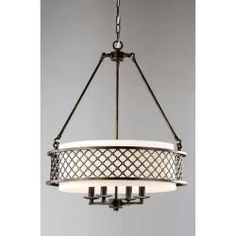 Lux Bronze 4-light Beige Pendant Chandelier | Overstock.com Shopping - The Best Deals on Chandeliers & Pendants
