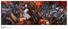 """José Clemente Orozco. Katharsis. 1935. Es el fuego que simboliza la """"Katharsis"""", como la única manera de salvar y purificar a la sociedad, corrompida por los acontecimientos a lo largo de la historia de México."""
