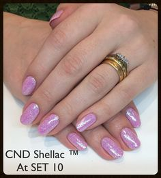 Stunning CND Shellac ™ rockstars in cake pop with confetti pink lecente glitter .