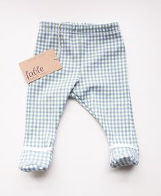 9c83c1b1ed2 Hand Printed Organic Cotton Unisex Baby Legging with Bootie - Gingham Print  in Sky and Apple