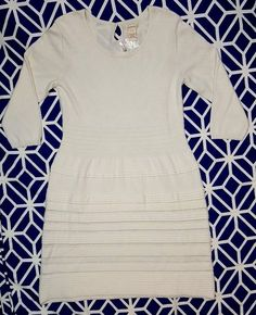 SUNDANCE Sculptured Delight Solid All White 3/4 Sleeve Sweater Dress Size Large | Clothing, Shoes & Accessories, Women's Clothing, Dresses | eBay!