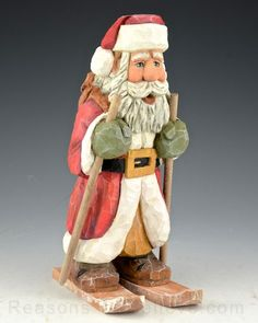 Carved Santa on Skis