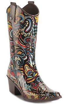 rain boots art | Beehive Rain Bops Ladies Multi Colored Art Fusion Cowgirl Rain Boots ...