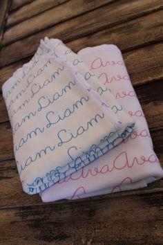 Personalized Custom Swaddle Blankets on Organic by Posieshandmade, $38.00
