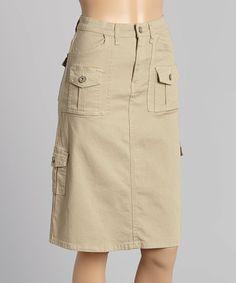 Loving this Khaki Cargo Skirt - Women on #zulily! #zulilyfinds