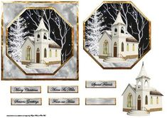 Church in the moonlight card with topper and decoupage on Craftsuprint designed by Angela Wake - Church in the moonlight card with topper and decoupage/sentiment tags - Now available for download!