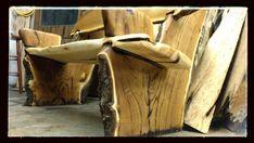 Custom Made Live Edge Rustic Bench-Crotch Wood Slabs