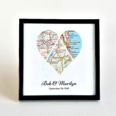 Wedding Map Art / Personalized Wedding Gift / Personalized Heart Map / Engagement Gifts for Couple / Wedding Gifts for Couple