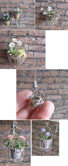 Miniature hanging plants. In another language & no tutorial but great pics for inspiration to making your own!?