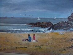 Sitting on the beach at Seaham Harbour, Featherbed Rocks. Acrylic